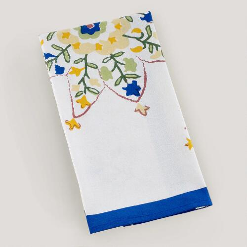 Blue/Yellow Floral Star Block Print Kitchen Towel, Set of 2