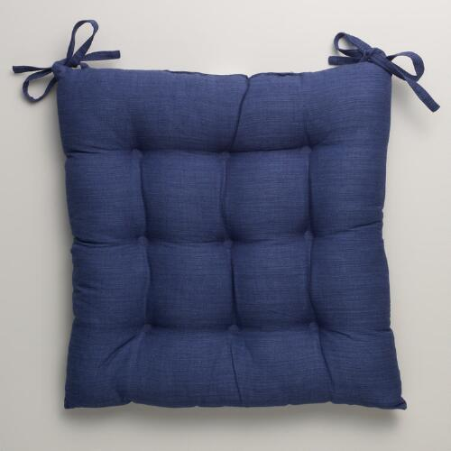 Navy Khadi Chair Cushion