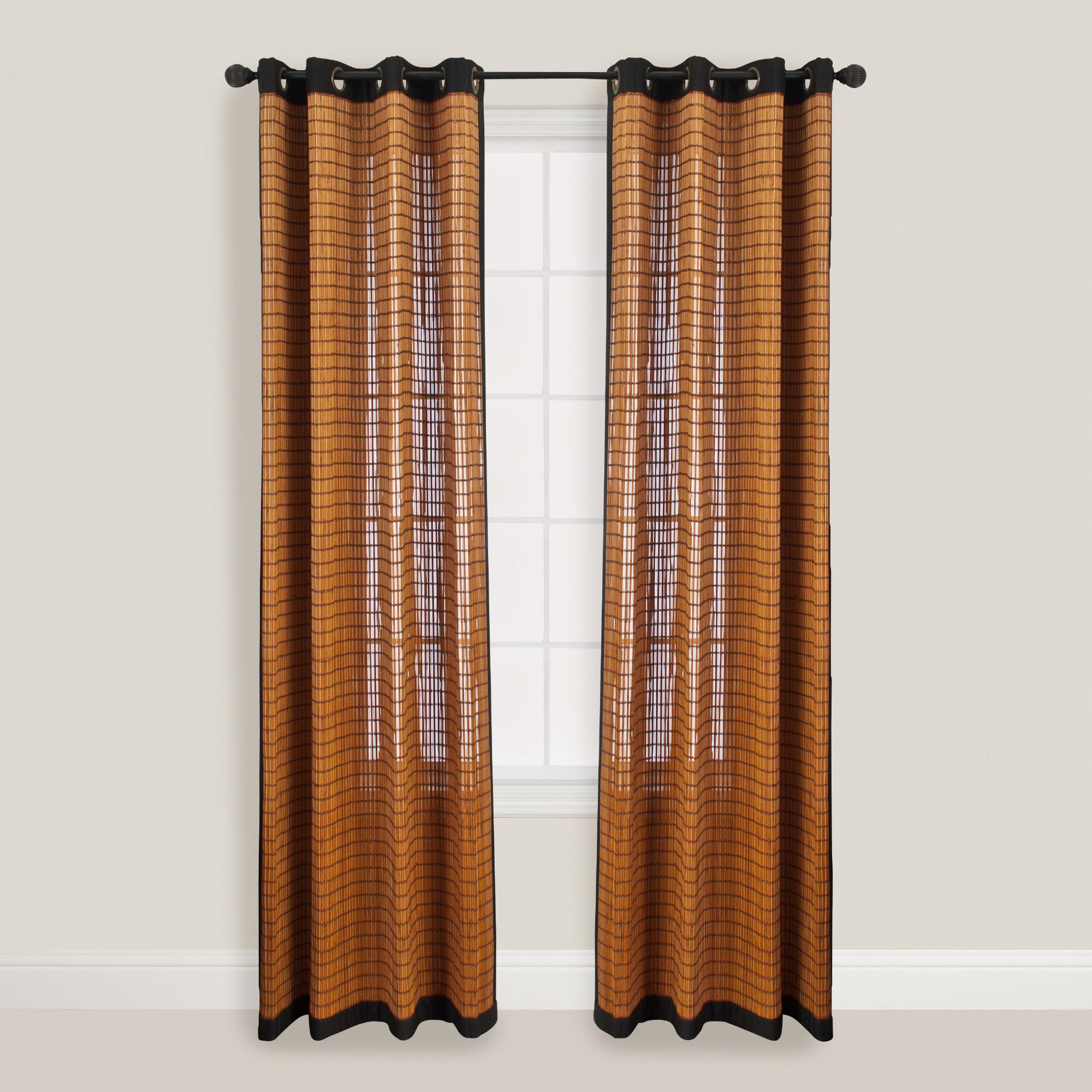 Bamboo Kitchen Curtains: Bark Bamboo Curtains With Grommets