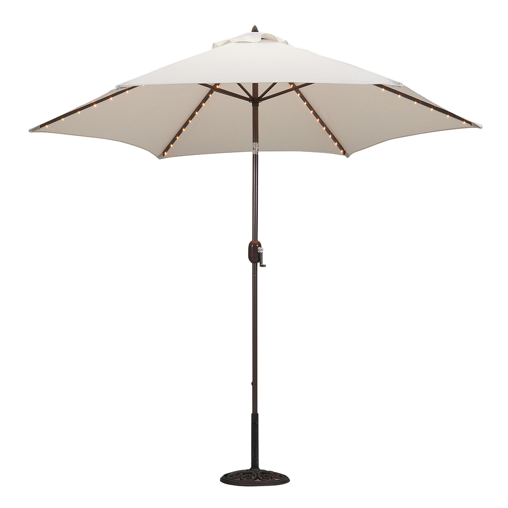 Natural 9-ft. Round Umbrella With Lights