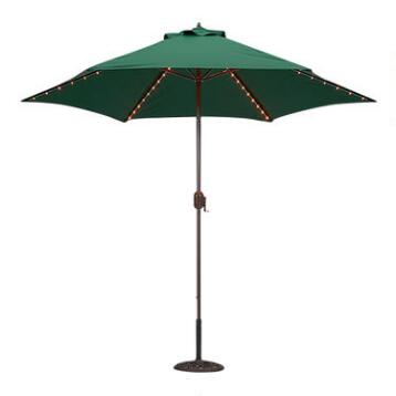 Green 9-ft. Round Umbrella with Lights