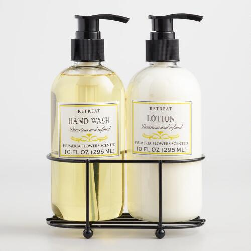 Retreat Plumeria Liquid Soap and Lotion Caddy