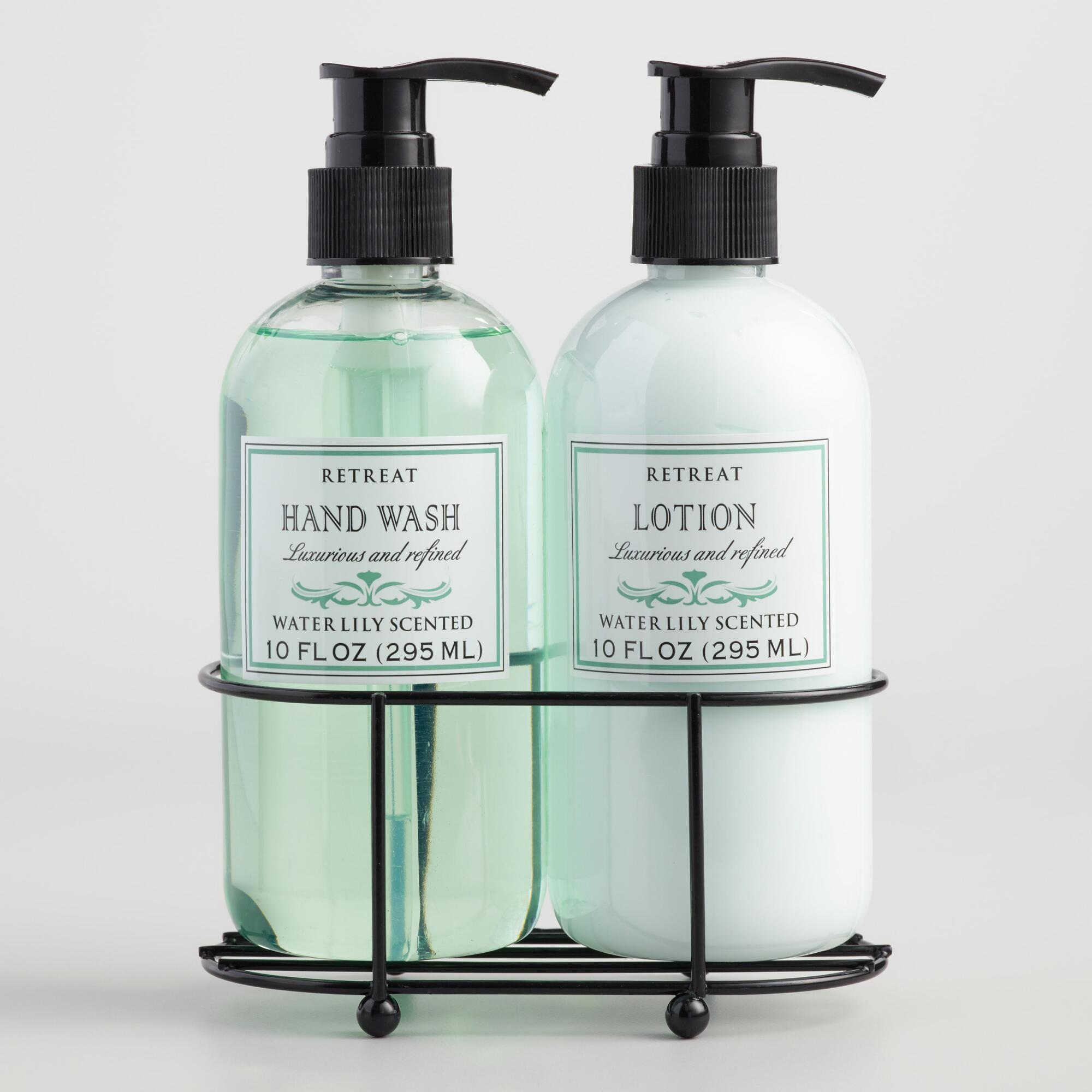 Retreat water lily liquid soap and lotion caddy world market Hand wash and lotion caddy