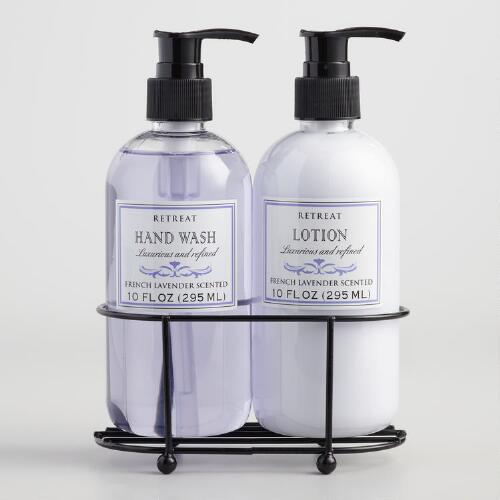 Retreat Lavender Liquid Soap and Lotion Caddy