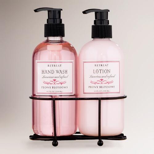 Peony Retreat Liquid Soap and Lotion Caddy