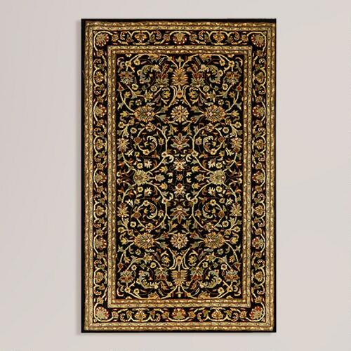 Black Kashan Wool Rug