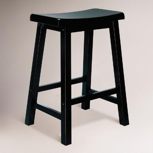 Antique Black Schoolhouse Counter Stool