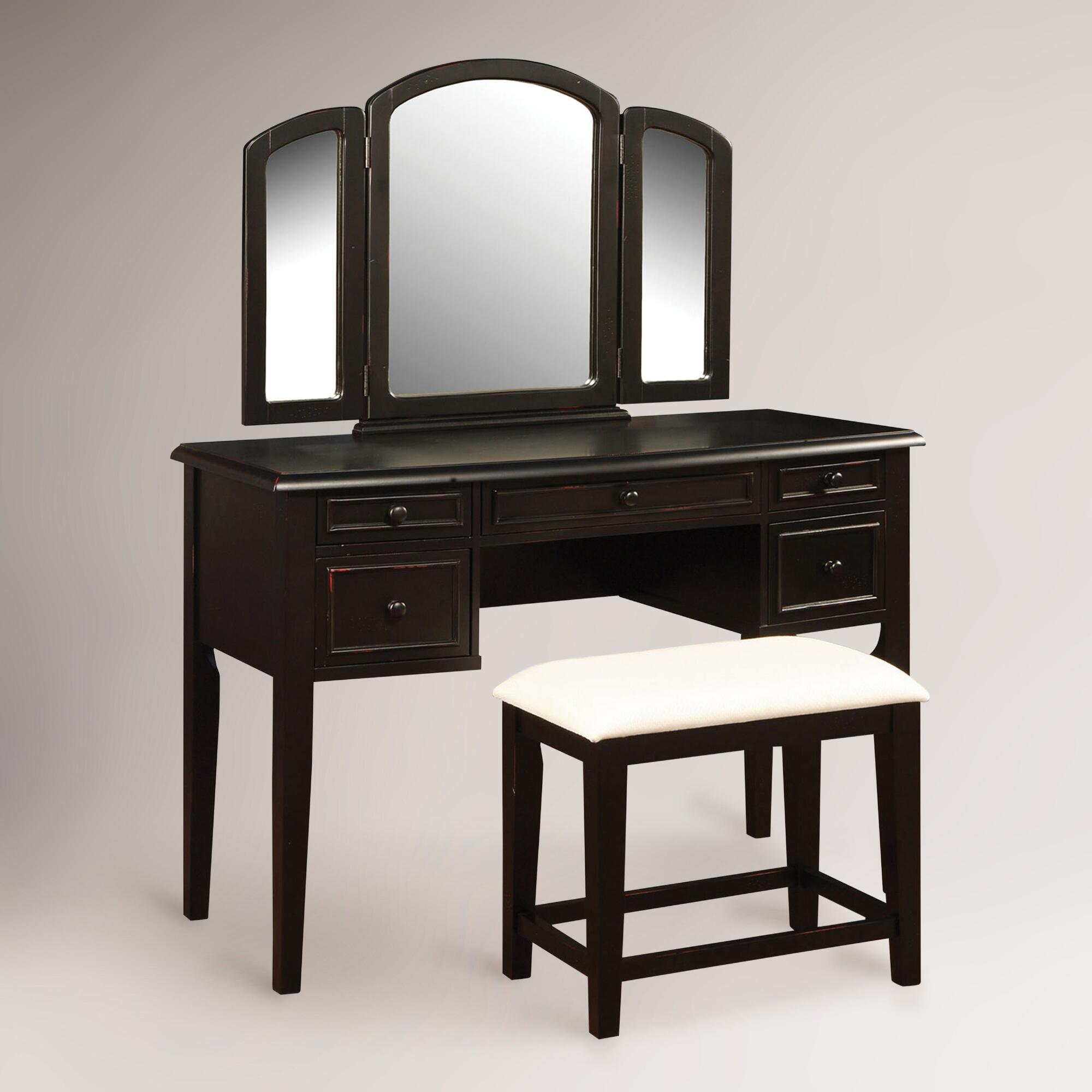 Montclair vanity mirror bench world market for Mirror vanity