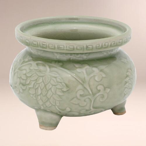 "Novica ""Thai Forest"" Celadon Ceramic Incense Burner"