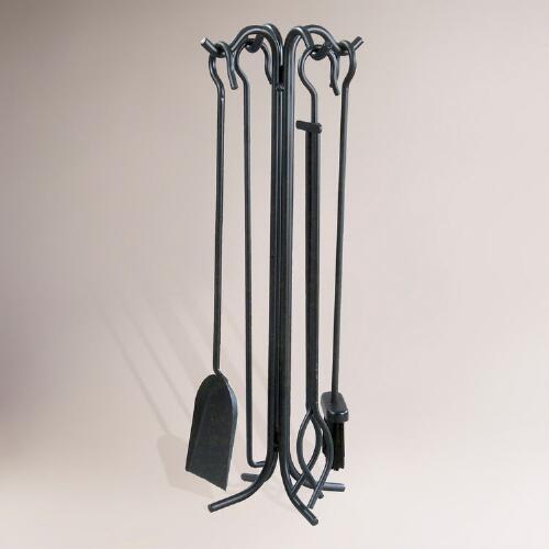 Wrought Iron 5-pc. Fireplace Tool Set