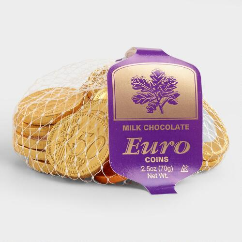 Milk Chocolate Euro Coins, Set of 6