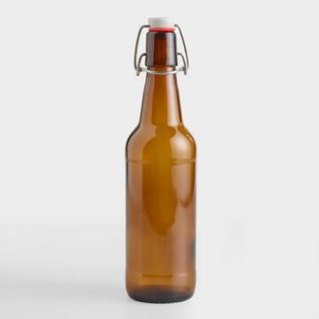 Dark Amber Glass Bottle with Clamp Lid