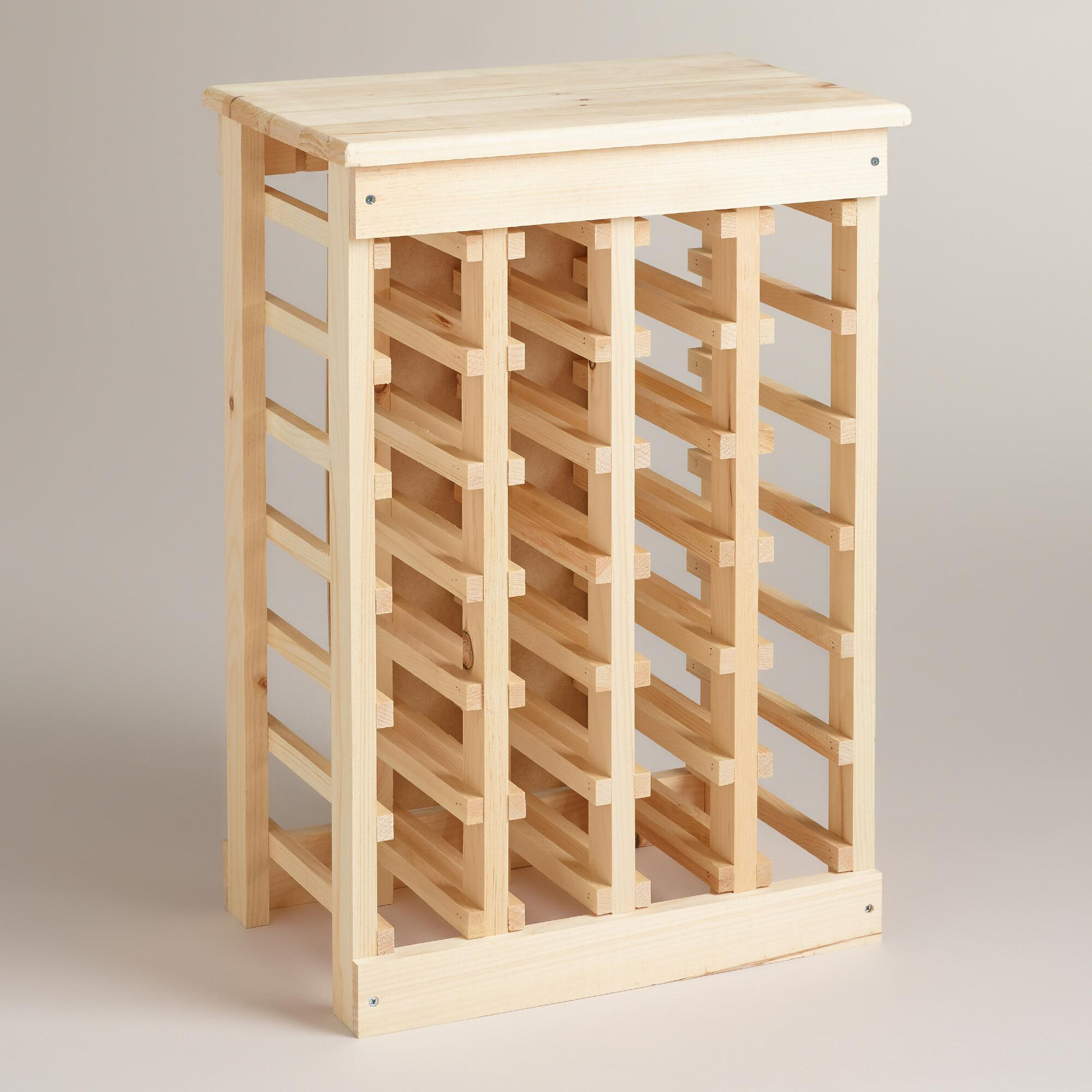 Cost Plus World Market Pine 24 Bottle Wine Rack Wood By