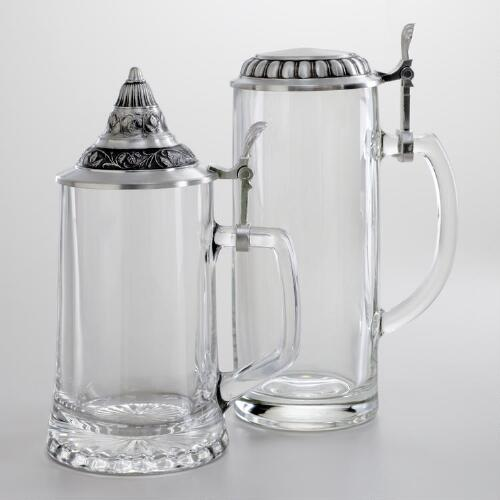 Glass Beer Stein, Set of 2
