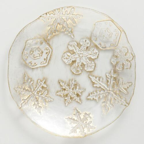 Gold Snowflake Plates, Set of 2
