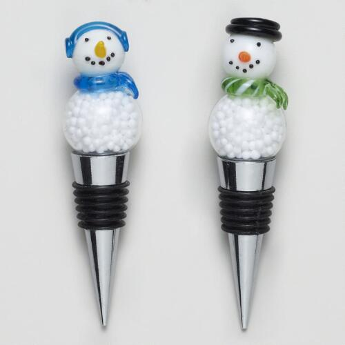 Snowman Bottle Stoppers, Set of 2