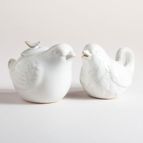 Bird Sugar Bowl and Creamer Set