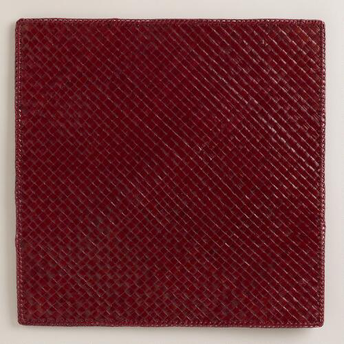 Red Pandan Square Placemats, Set of 4