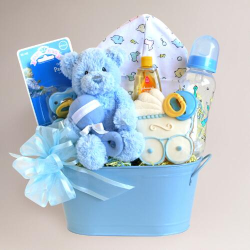 Cuddly Welcome for Baby Boy Gift Basket