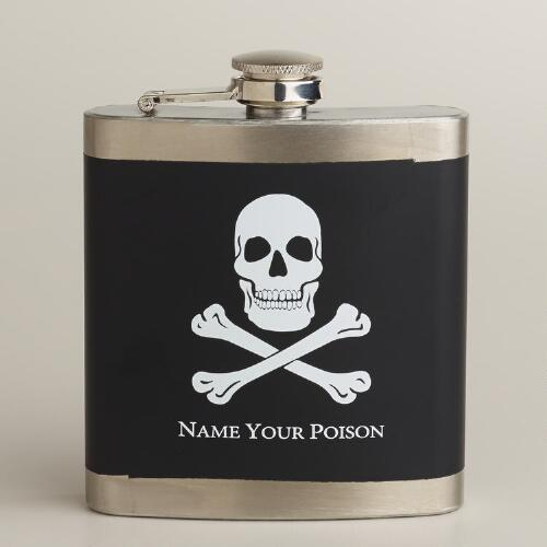 """Name Your Poison"" Skull & Crossbones Flask"