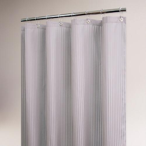 Antique Silver Satin Stripe Shower Curtain