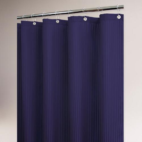Porcelain Blue Satin Stripe Shower Curtain