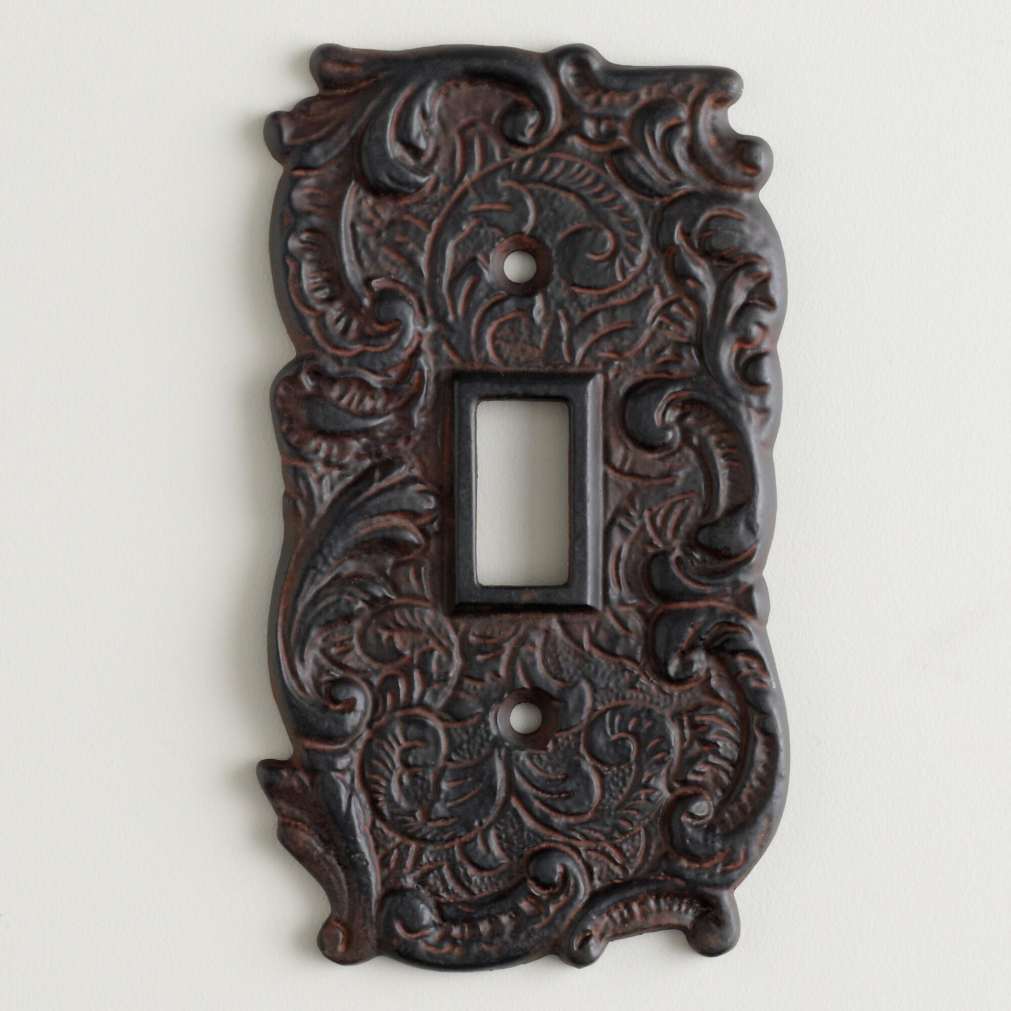 Single cast iron switch plate world market - Wrought iron switch plate covers ...
