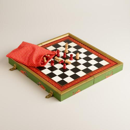 Painted Elephant Wood Chess Set