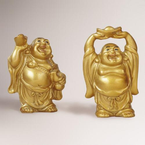 Mini Gold Buddhas, Set of 2