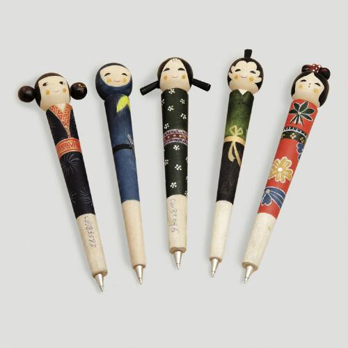 Wood Kokeshi Doll Pens, Set of 5