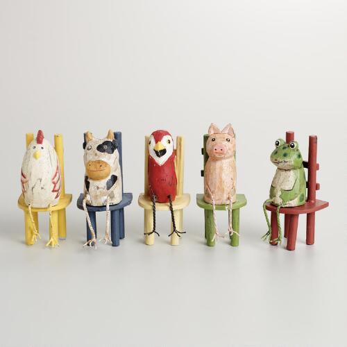 Animal Sitters on Chairs, Set of 5