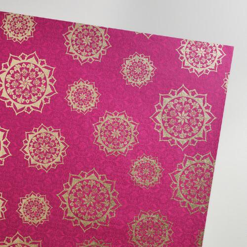 Pink, Purple & Gold Circles Handmade Gift Wrap