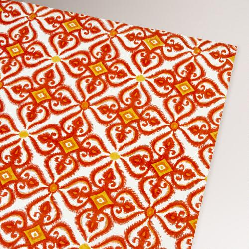 Orange Elanza Print Handmade Gift Wrap