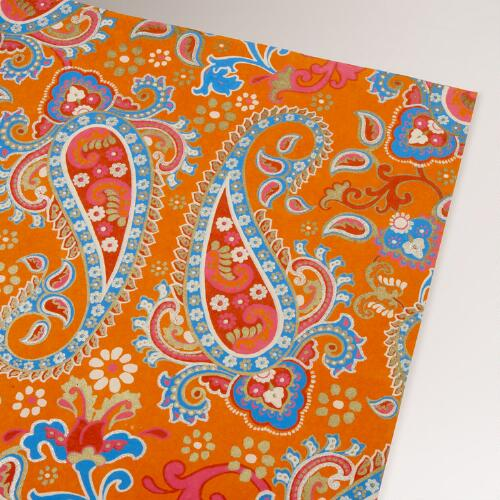 Orange Paisley Handmade Gift Wrap