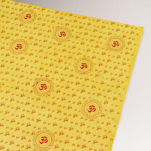Yellow & Red Om Lokta Paper Handmade Gift Wrap