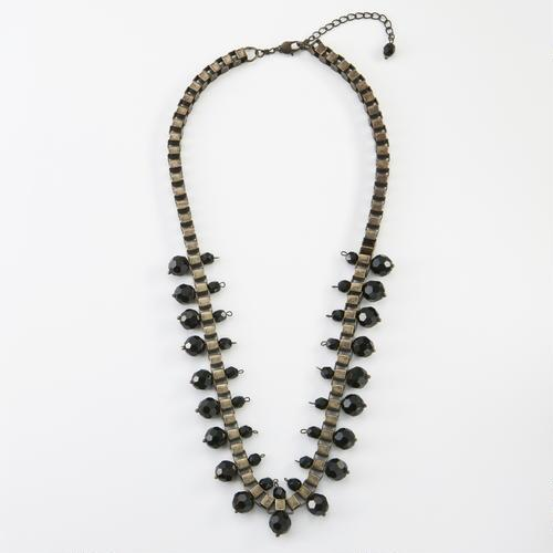 Black Crystal Box Chain Necklace
