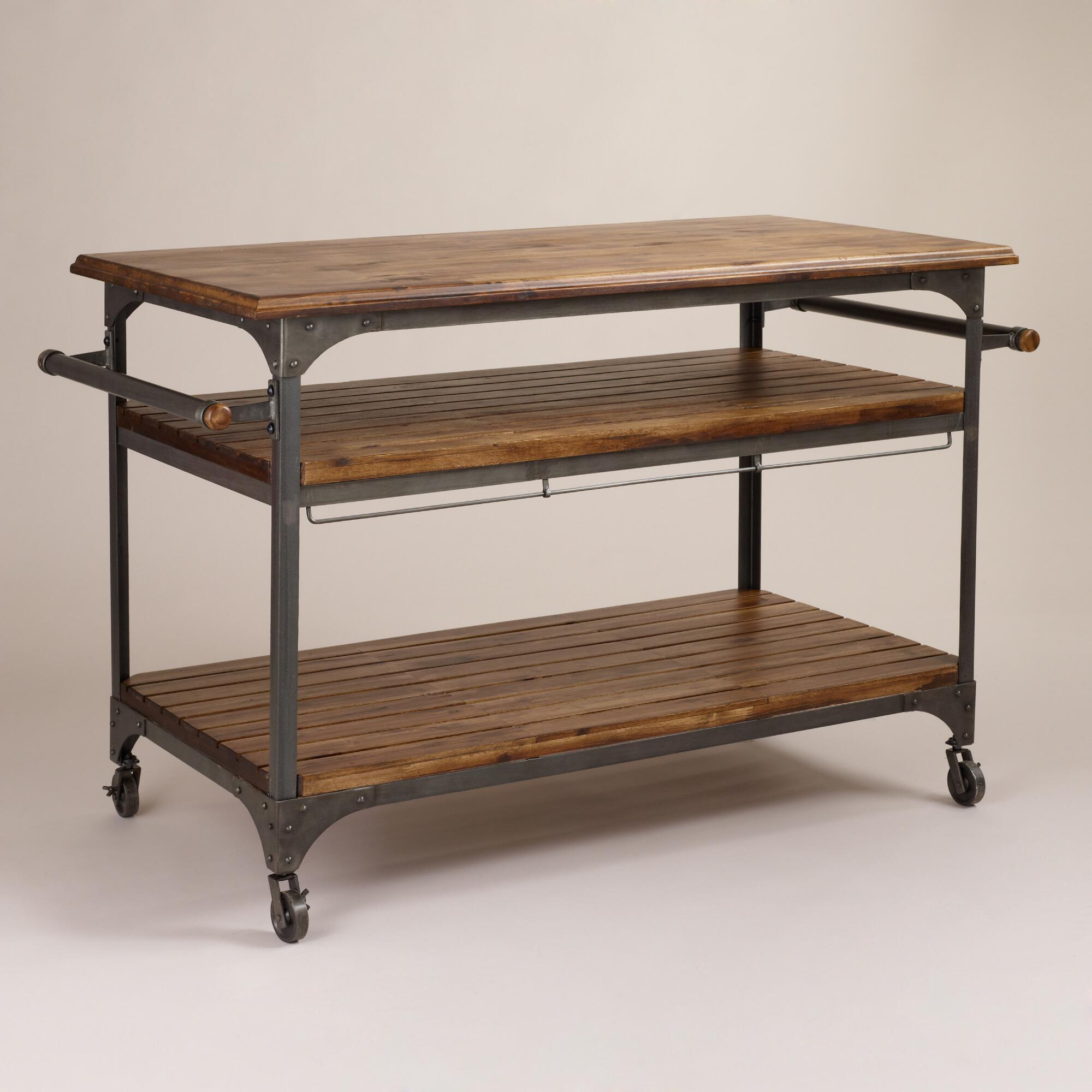 Wood and metal jackson kitchen cart world market - Industrial kitchen island for sale ...