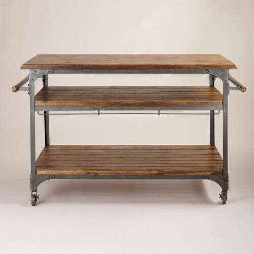 Wood And Metal Industrial Kitchen Cart: Wood And Metal Jackson Kitchen Cart