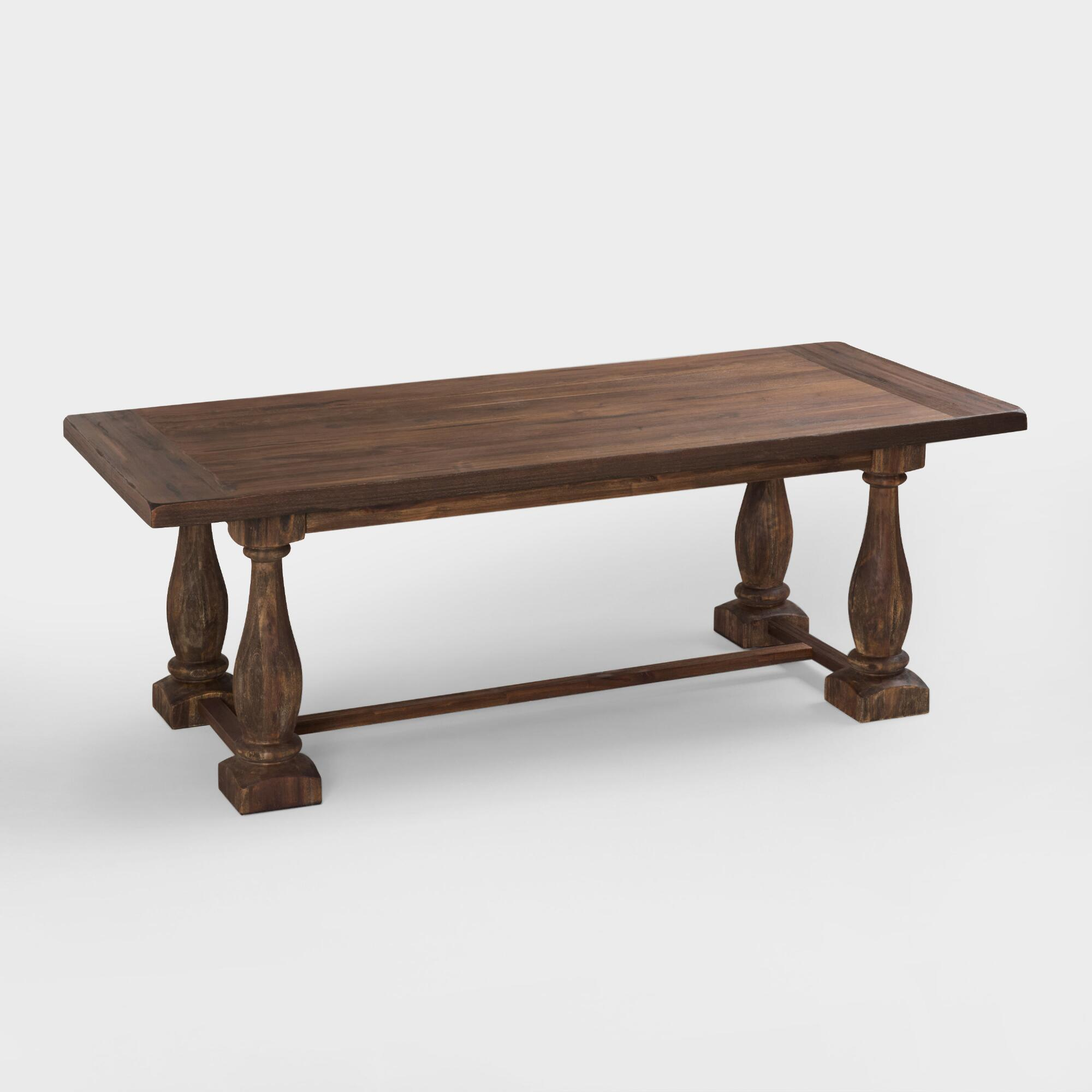 Rustic java greyson fixed dining table world market for Farmhouse dining table