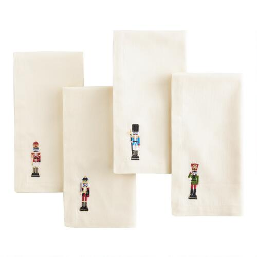 Nutcracker Embroidered Napkins, Set of 4