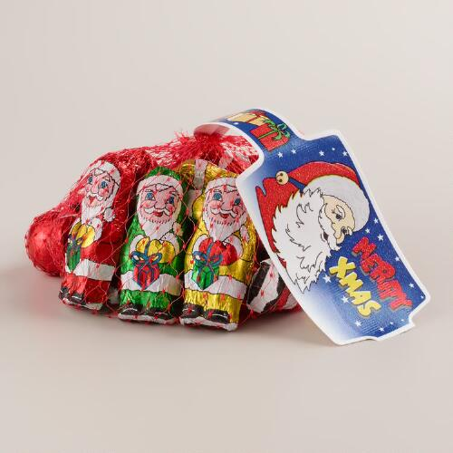 Laica Chocolate Santas and Red Balls in Mesh Bag, Set of 8