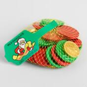 Mesh Bag of Chocolate Christmas Foil Coins, Set of 13