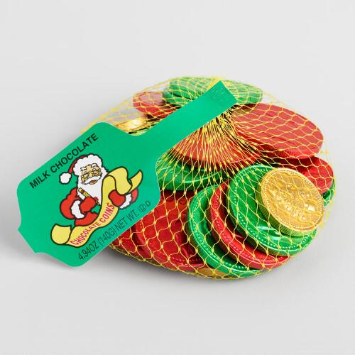 Mesh Bag of Chocolate Christmas Foil Coins, Set of 10