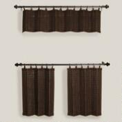 Espresso Bamboo Ring Top Window Valance and Tiers, Set of 2