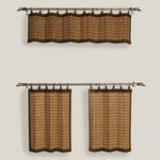 Natural Colonial Bamboo Ring Top Window Valance and Tiers