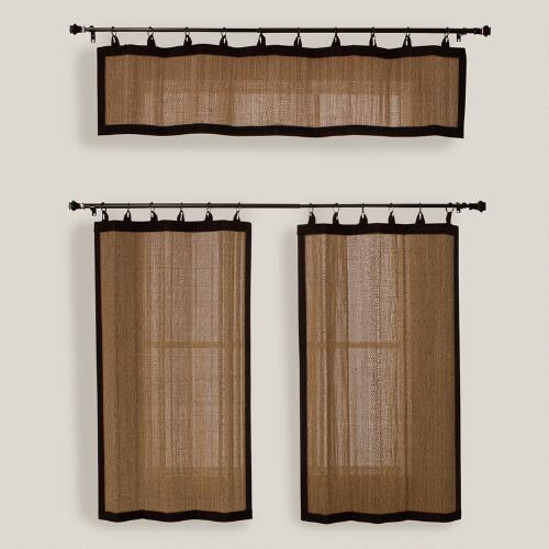 Camel Bamboo Ring Top Valance and Tiers