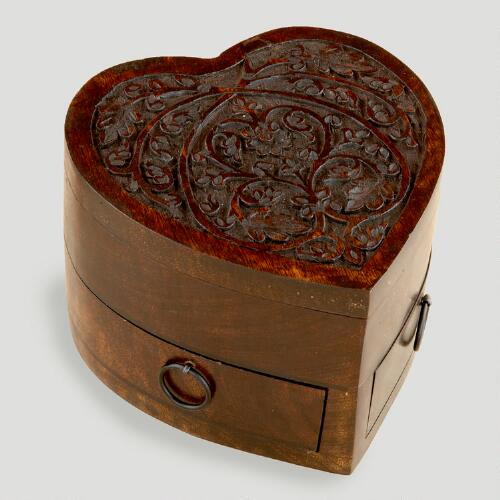 Espresso Helena Heart Jewelry Box with Drawers