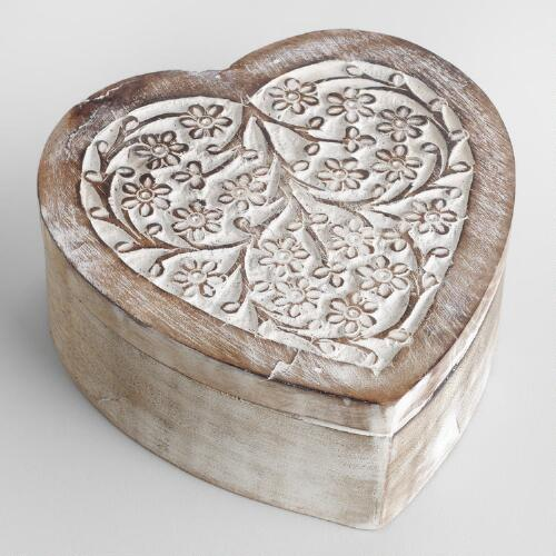 Whitewash Helena Heart Jewelry Box