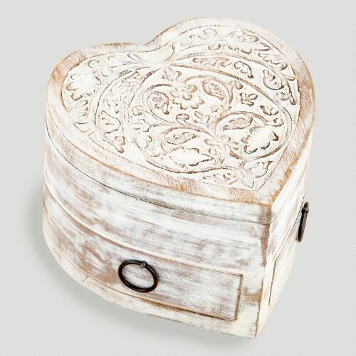 White Helena Heart Jewelry Box with Drawers
