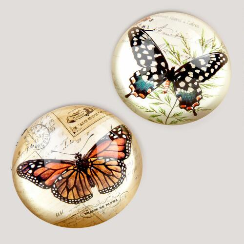 Vintage Butterfly Paperweights, Set of 2